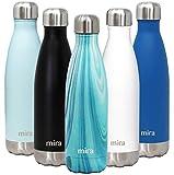 Botella de Agua de Acero Inoxidable con Cierre al Vacío de MIRA | Botella con Forma de Refresco de Cola | Frío Durante 24 Horas & Caliente Durante 12 Horas | Granito Verde Azulado 500 ml
