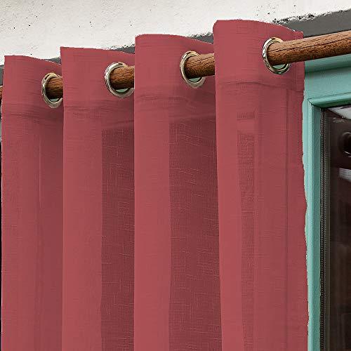 Barceló Hogar - Cortina Madeira, Efecto Visillo Translucido Color Granate, 1 Pieza Medida 140x270 cm, 8 Anillas de 40 mm, Largo de Fácil Ajuste