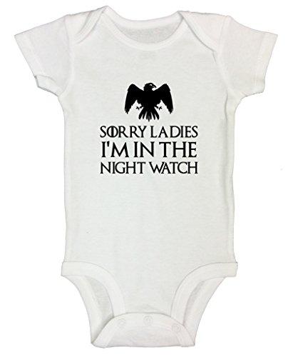 Recién nacido Onesie 'lo siento damas Im en la noche reloj' Juego de Tronos–Funny Threadz® -  Blanco -