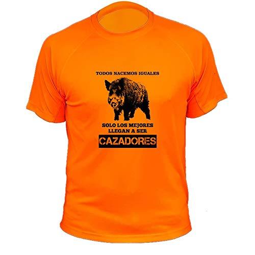 AtooDog Camisetas Personalizadas de Caza, Todos nacemos Iguales, Ideas Regalos, Verraco (30142, Naranja, L)
