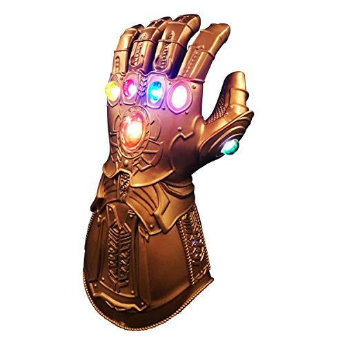 Homened Thanos Handschuhe, Thanos Infinity Gauntlet LED Handschuhe, Thanos Cosplay Latex Handschuhe Halloween Party Zubehör