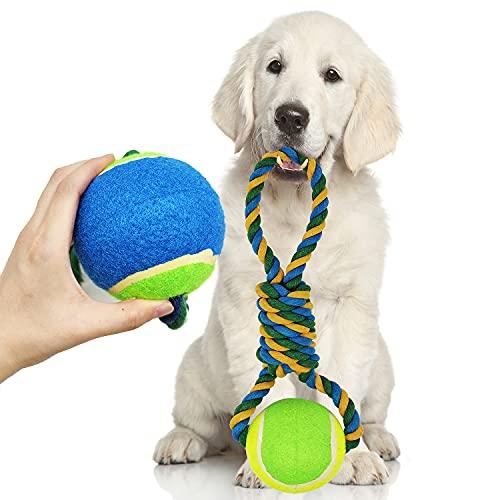 BPS Nudo Tirador Algodón Juguete Cuerda con Pelota para Perros Tamaño Grande de Algodón para Salud Mental Dental del Perro Limpieza Dientes BPS-1807