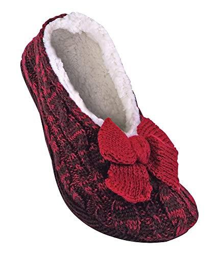 Jennifer Anderton - Damen winter quarter ausgeschnitten anti rutsch abs stoppersocken hausschuhe pantoffeln (39-41 Eur, 6-8 UK, Wine)