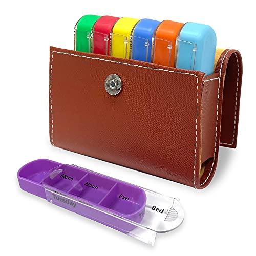 Wöchentlicher Reise Pillendosierer, PTN Medikamentendosierer, 28 Gitter Medikamentenbox 7 Tage, 4 mal Täglich, Wöchentliche Pillendose mit Reisetasche aus Pu Leder, Feuchtigkeitsbeständiges Design