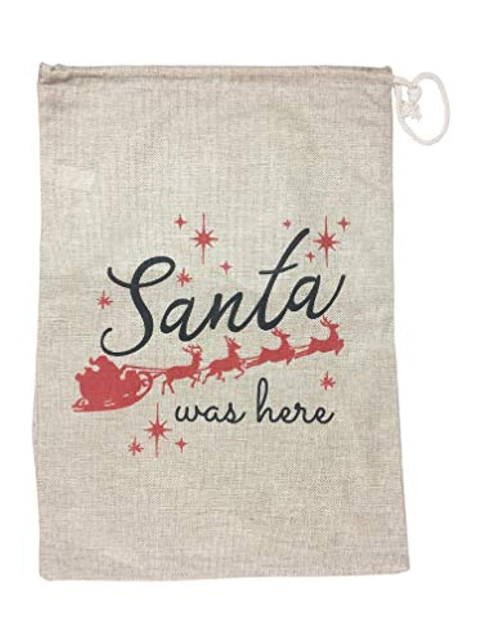 Burlap Christmas Gift Bag with Drawstring-Santa was Here Design 20