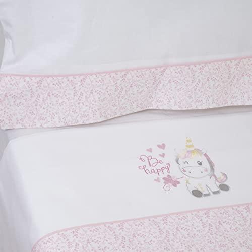 10XDIEZ Juego de sábanas cuna franela unicornio 124 blanco/rosa | (Maxicuna - 70x140 cm - Blanco)