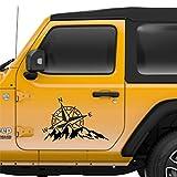 Rosa de los vientos Adventure - Pegatina adhesiva para coche o moto, 2 unidades, color negro, 27 x 18 cm
