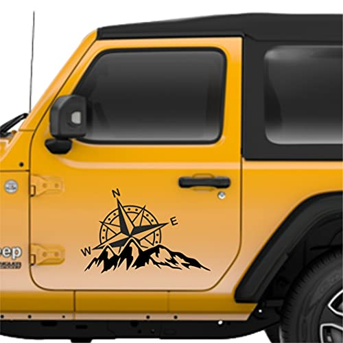 Rosa dei Venti Adventure Adesivo auto moto - Stickers Offroad fuoristrada, camper, jeep, pickup, barca per carrozzeria fiancata - 2 Pezzi (Nero cm 20x13)