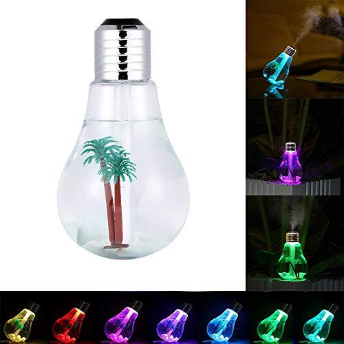 LaMei Yang USB-Luftbefeuchterlampe, 7-Farben-Nachtlicht-Desktop-Luftreiniger, kippbarer Diffusor für die Inneneinrichtung, Geeignet für das Babyschlaf-Home-Office, Kapazität 400 ml
