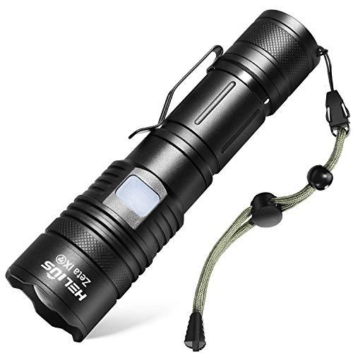 【2021 Upgrade】 Helius led Taschenlampe extrem hell USB aufladbar 2500 Lumen Taschenlampen 5 Modis Zoombar Taktische Flashlight Für Camping,Wandern, Outdoor ausrüstung Handlampe Fackel Mit 18650 Akku
