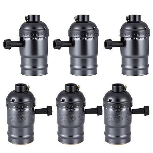 Mangsen 6 Stück Edison Lampenfassung, E27 Vintage Lampenfassung Deckenfassung Lampensockel Lampenfuß mit An/Aus-Schalter DIY Hängelampe Halter Pendelleuchte Adapter Lampenzubehör (Schwarz)