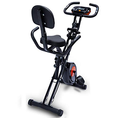 EQA Fitness Foldable Exercise Stationary Bike,Magnetic Upright Workout Bike with Arm Exercise Resistance Bands and Heart Monitor for Women,Men, and Seniors