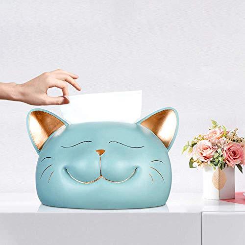 LHQ-HQ Tissue Box Tissue Box Storage Box Tissue Holders Fun Big Face Cat Decoration Tissue Box Cute Abstract Cat Tissue Storage Box-Sky_Blue