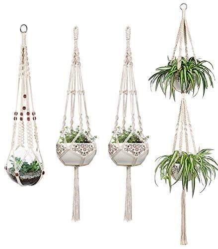 4er Set Makramee Blumenampel Baumwollseil Hängeampel Blumentopf Pflanzen Halter Aufhänger für Innen Außen Decken Balkone Wanddekoration