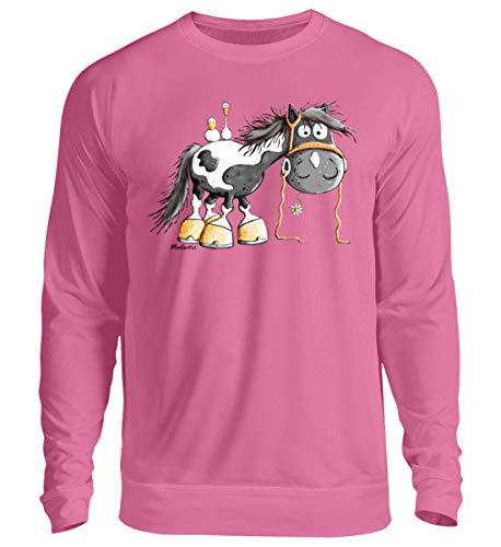 Happy Pinto Pferd Comic I Schecke Tinker I Modartis Pferde I Pony I Reiter Geschenk - Unisex Pullover -L-Helles Pink