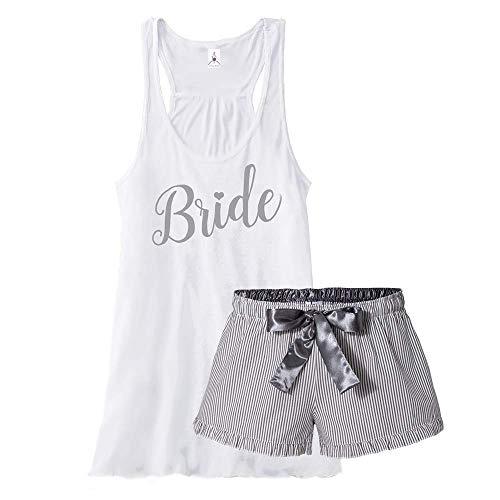 Bride Pajama Short Set - Silver (M Top - M Boxers)
