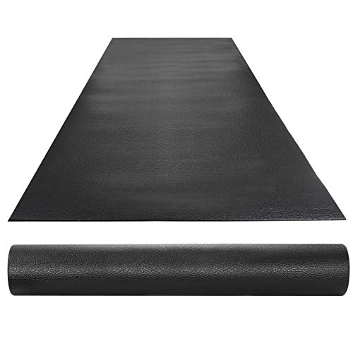 "HomGarden High Density Gym Exercise Treadmill Floor Mat,8 x 3 FT Anti Vibration PVC Exercise Bike Equipment Mat,1/4"" Thickness Sport Mat for Home Gym,Black"