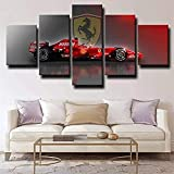 QMCVCDD 5 Leinwand Druck Kunst Poster Formel 1 Ferrari Red