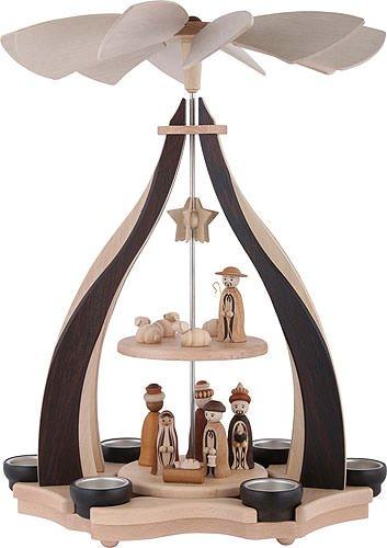 2-tier belén pirámide - 47,5cm / 18.7inch - Auténtico alemán Erzgebirge pirámides de Navidad - Zeidler Holzkunst