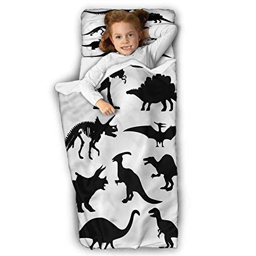 Dinosaur Daycare Sleeping Bag Ancient Wild Skeleton for Daycare and Preschool 43X21 INCH