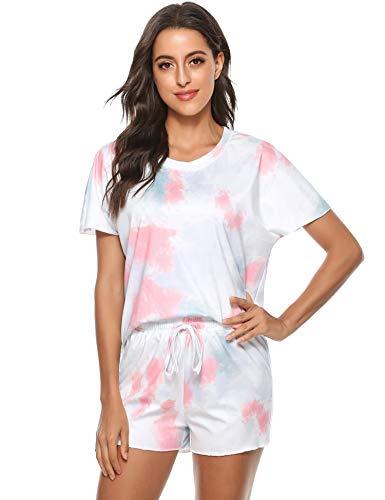 Hawiton Pijama Mujer Verano Corto, Pijama Mujer de Estampado