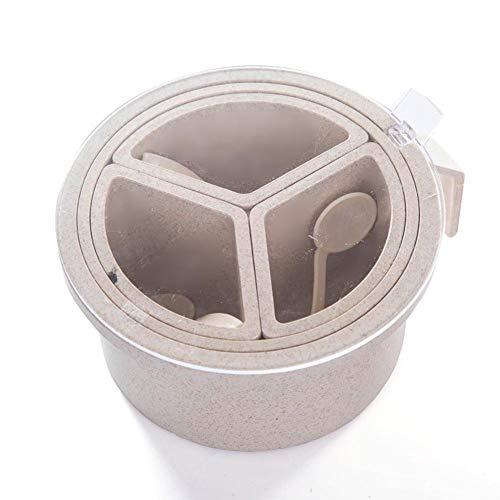 YIXIA Sazonador de condimentos con cuatro compartimentos para condimentos y especias, varios compartimentos, caja redonda para condimentos, dispensador de sal y pimienta, se vende uno por uno