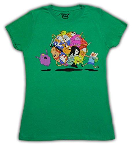 Adventure Time Group Roll Ball Damen Grün T-shirt (Damen Large)