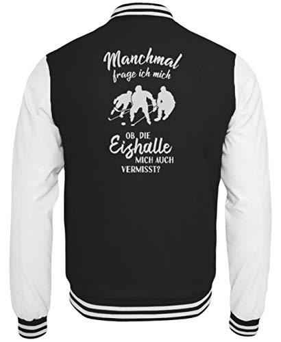 shirt-o-magic Eishockey: Ob die Eishalle Mich vermisst? - College Sweatjacke -M-Schwarz-Weiss