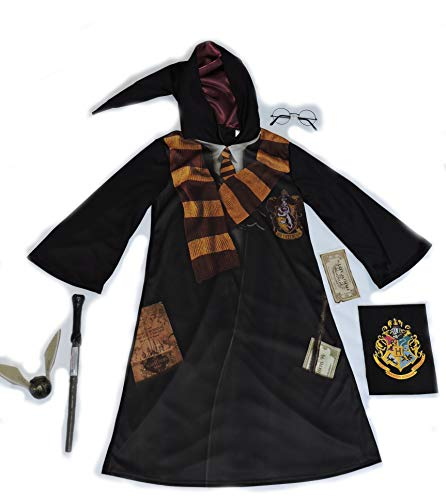 Official-7-8-Years-Harry-Potter-fancy-dress-Robe-with-Hood-Wand-Glasses-Snitch