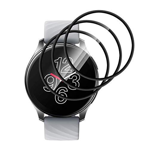 GEEMEE für Oneplus Watch Schutzfolie, HD Flexible Folie Anti-Bubble Einfache InstallationNass angewendet Schutzfolie für Oneplus Watch -3 Stück (Schwarz)
