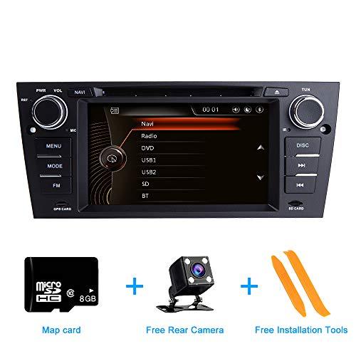 ZLTOOPAI für BMW E90 E91 E92 E93 Serie Doppel-Din-Kopfeinheit 7-Zoll-kapazitiver Multi-Touchscreen-Autoradio GPS-Radio mit kostenloser Kartenkarte Werkzeug zum Entfernen der Rückfahrkamera