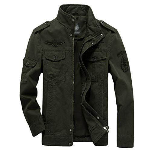 Ketamyy Casual algodón chaquetas estilo militar Tamaño más delgada del resorte del otoño de pie cuello de manga larga Loose Fit para Hombre SG Ejercito verde