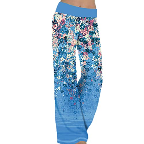 OVIWENEII Pantalones de mujer, anchos y suaves, para correr, yoga, diseño floral turquesa XXL