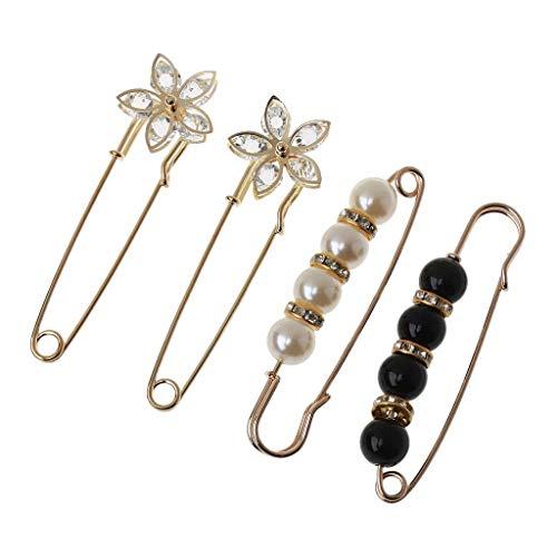 unknows Broches para mujer, suéter, chal, doble perla sintética, broches de cintura, extensor de seguridad,