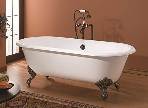 Buy Cheviot REGAL Cast Iron Bathtub with Continuous Rolled Rim | Clawfoot Bathtub | Cast Iron | Biscuit Interior with Custom Colour Exterior | Chrome Feet Finish
