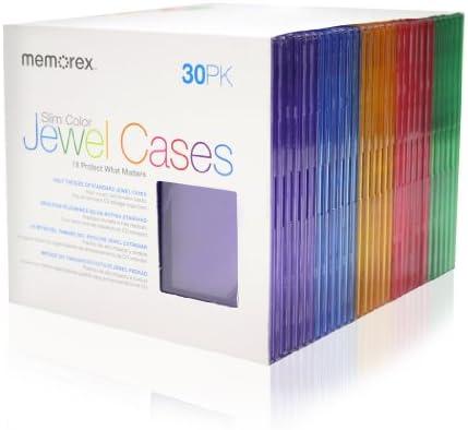 Memorex 30 Pack Slim CD Jewel Case 5mm Assorted Colors product image
