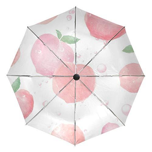Kleiner Regenschirm Winddicht im Freien Regen Sonne UV Auto Compact 3-Fach Regenschirm Abdeckung - Honig Pfirsich Frucht Rosa Sommer