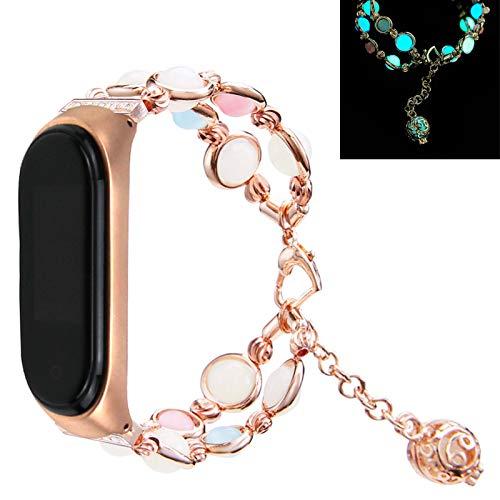 MVRYCE Armband Kompatibel für Mi Band 5 Handmade Luminous Pearl Ersatzband für Frauen Verstellbares Metall Smart Watch Armband mit Elastischer Perle Kompatibel mit Xiaomi Mi Band 5, Roségold