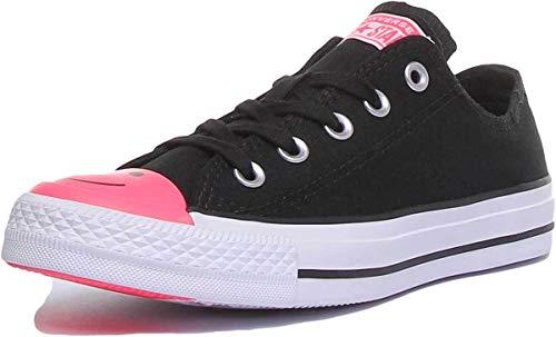 Converse Chuck Taylor All Star Ox Smiley - Sneaker unisex, colore: Nero/Rosa, Nero (Black Racer rosa.), 37 EU