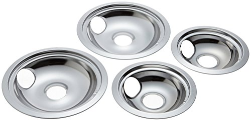 KITCHEN BASICS 101 WB31T10010 and WB31T10011 Replacement Chrome Drip Pans for GE/Hotpoint Electric Range with Locking Slot  Includes 2 6Inch and 2 8Inch Pans 4 Pack