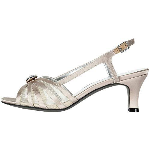 David Tate Cheer Women's Sandal, Champagne Satin, Size 9.5