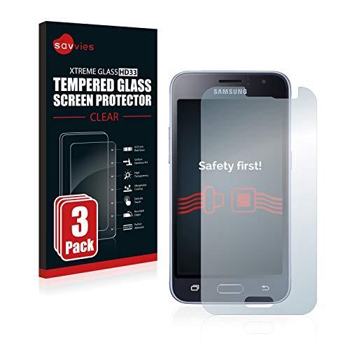 Savvies Panzerglas kompatibel mit Samsung Galaxy J1 2016 (3 Stück) - Echt-Glas, 9H Festigkeit, Anti-Fingerprint