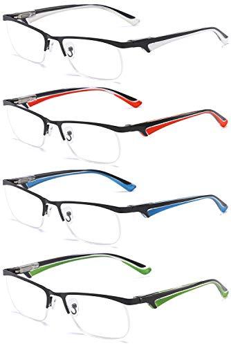 VEVESMUNDO® Lesebrillen Herren Damen Metall Klassische Federn-Scharnier HalbBrille Lesehilfe Augenoptik Arbeitsplatzbrille 1.0 1.5 2.0 2.5 3.0 3.5 4.0 (4 Farben(weiß+rot+blau+grün), 1.5)
