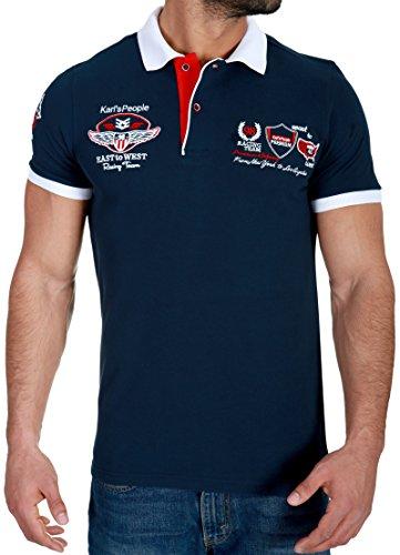 Karl's People Herren Poloshirt mit hochwertigen Stick Details Menswear Fahsion T-Shirt Polo 6681, Größe L, Farbe Navy