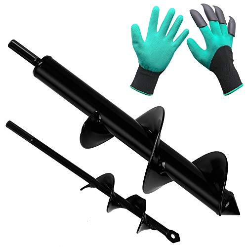 Twinkle Star 2 Pack Garden Auger Spiral Drill Bit Set, 1.6 x 9 Inch & 3 x 12 Inch with Garden Genie Gloves, Plant Bulb Auger Fits for 3/8 Inch Dill for Bedding Plants and Digging Weeds Roots