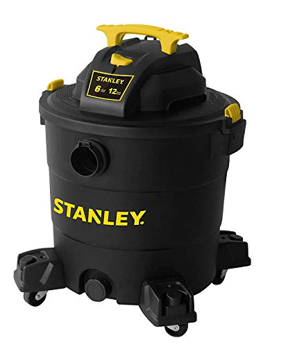 "Stanley 12 Gallon 6 Peak HP Wet/Dry Vacuum, 3 in 1 Shop Vac Blower,1-7/8""x6 Hose, Range for Garage, Carpet Clean, Workshop with Vacuum Attachments-SL18199P (Renewed)"