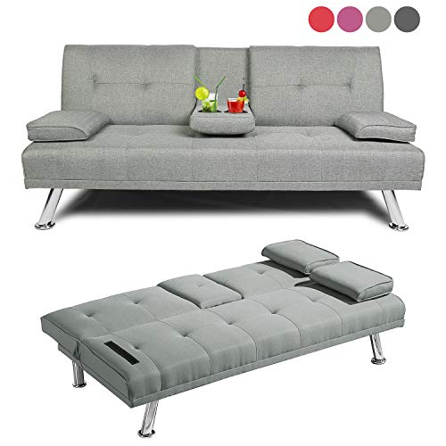 Baysitone Futon Sofa Bed Twin Size Sleeper, Convertible Linen Fabric Sleeper Sofa-Recliner Lounge Futon Couch with 2 Cup Holders, Armrest and Metal Legs