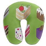 Almohada en forma de U para bebés Pastel de chocolate Celebración en forma de U Almohada para el cuello de espuma de memoria Protector Cojín para la cabeza Soporte Almohada de viaje cervical Almohadas