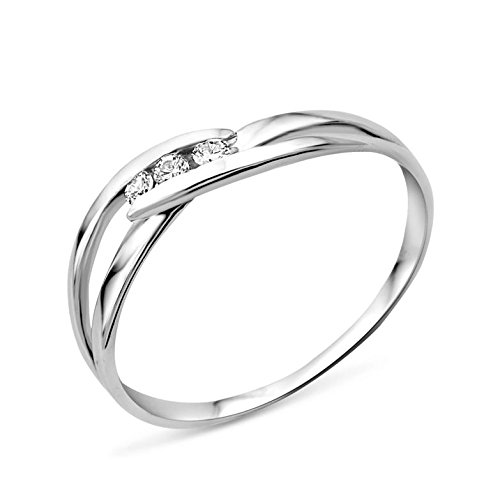 Miore Ring Women Trilogy Diamonds 0.07 ct White Gold 9 Kt / 375