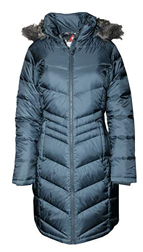 Columbia Women Polar Freeze Long Down Jacket Omni Heat Winter Coat, Mystery, X-Large